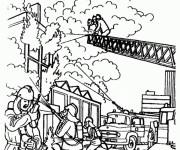 Coloriage Pompier pour éteindre L'incendie