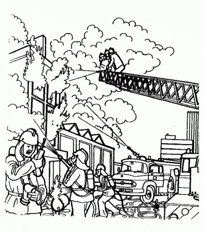 Coloriage pompier pour teindre l 39 incendie - Dessin anime pompier gratuit ...