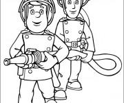 Coloriage Pompier Sam et Le Tuyau d'incendie