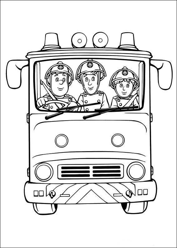 Coloriage et dessins gratuits Pompier Sam sur une urgence à imprimer