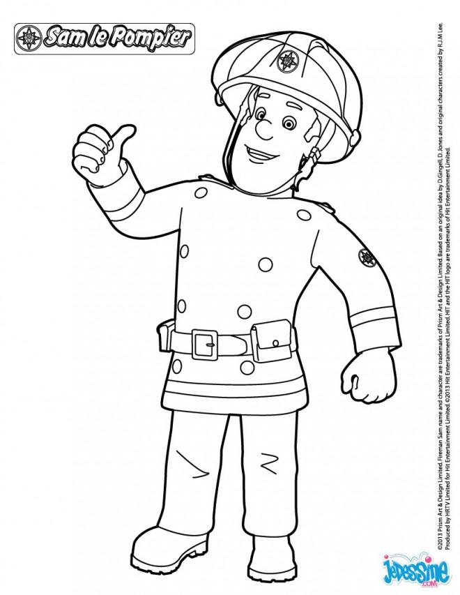 Coloriage et dessins gratuits Pompier Sam tout confiant à imprimer
