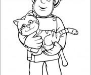 Coloriage Pompier sauve Le Chat