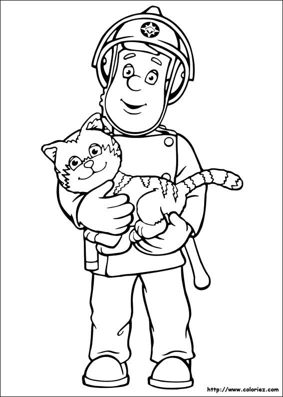 Coloriage et dessins gratuits Pompier sauve Le Chat à imprimer