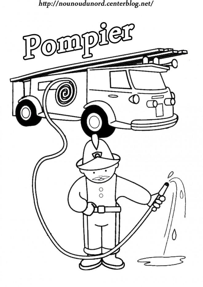 Coloriage et dessins gratuits Pompier simple à imprimer