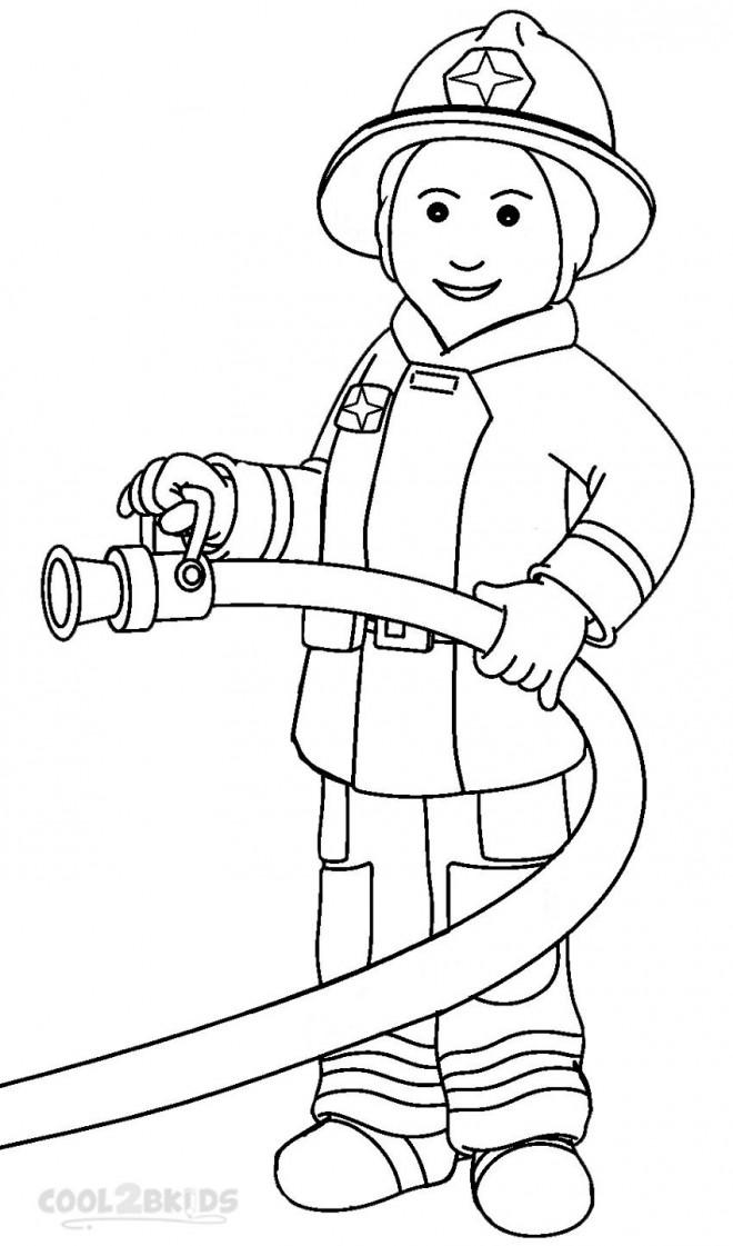 Coloriage et dessins gratuits Pompier stylisé à imprimer