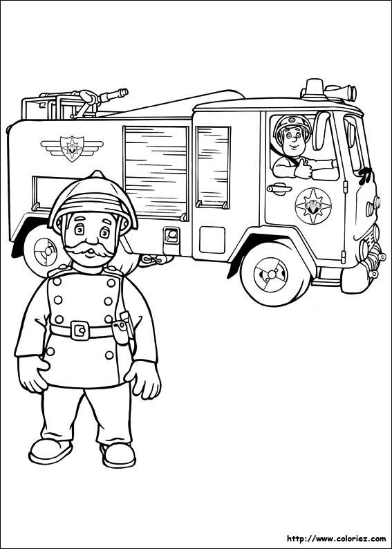 Coloriage et dessins gratuits Pompiers et leur camion à imprimer