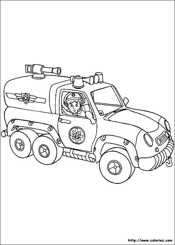 Coloriage et dessins gratuits Véhicule de Pompier à imprimer
