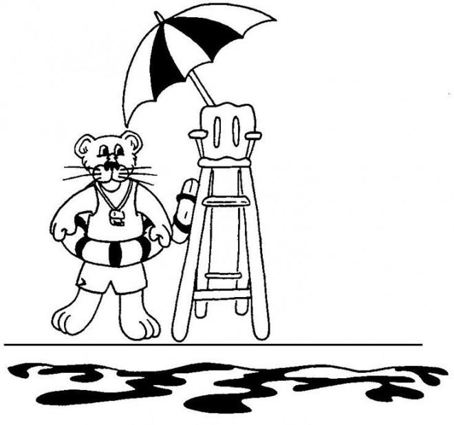 Coloriage et dessins gratuits Tigre Sauveteur à imprimer