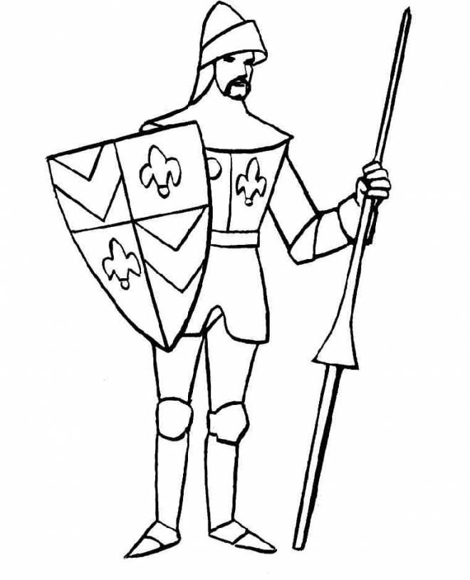 Coloriage et dessins gratuits Chevalier guerrier facile à imprimer