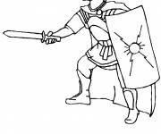 Coloriage et dessins gratuit guerrier Romain au combat à imprimer