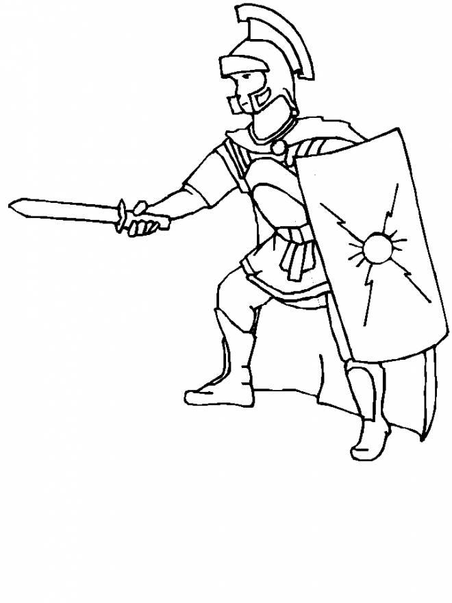 Coloriage et dessins gratuits guerrier Romain au combat à imprimer