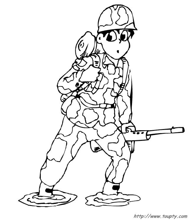 Coloriage jeune soldat et son arme dessin gratuit imprimer - Dessin de militaire ...