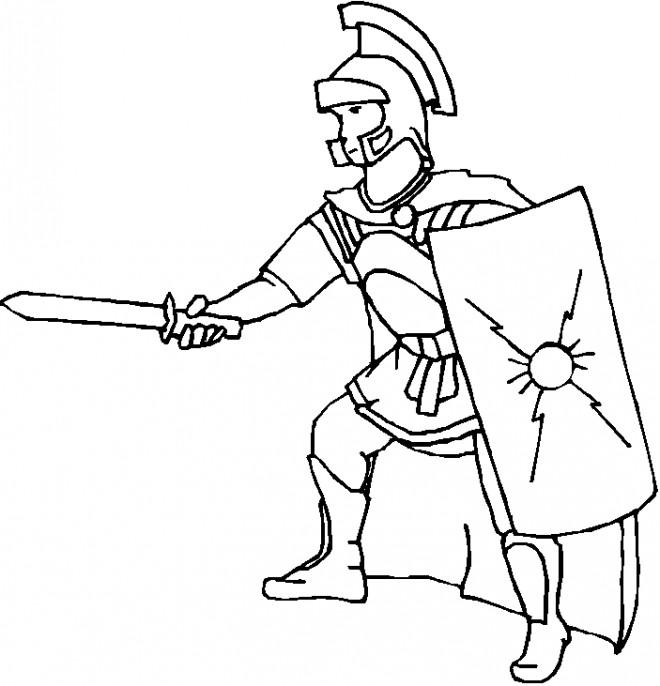 Coloriage et dessins gratuits légionnaire romain attaque à imprimer