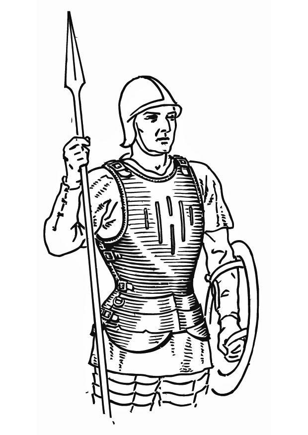 Coloriage Légionnaire romain équipement