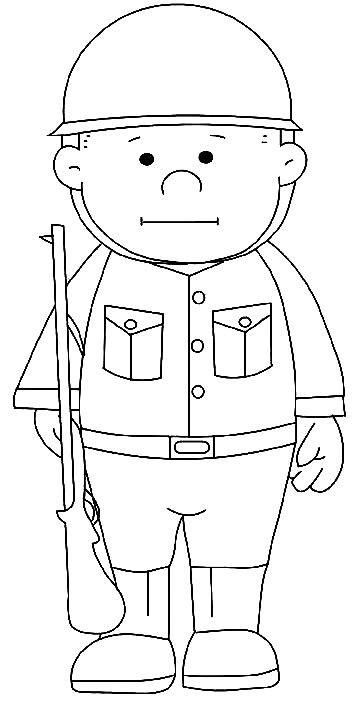 Coloriage militaire enfant facile dessin gratuit imprimer - Dessin de soldat ...