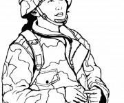 Coloriage et dessins gratuit Militaire Féminine à imprimer
