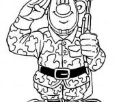 Coloriage et dessins gratuit Militaire salut à imprimer