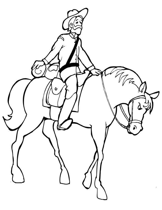 Coloriage et dessins gratuits Soldat américain sur son cheval à imprimer