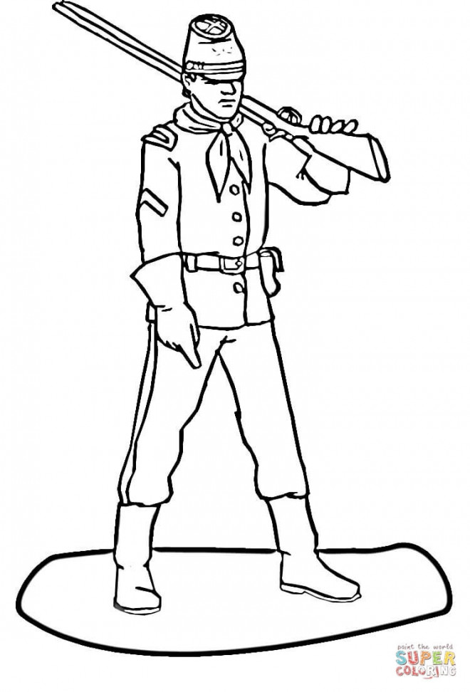 Coloriage et dessins gratuits Soldat avec son arme sur épaules à imprimer