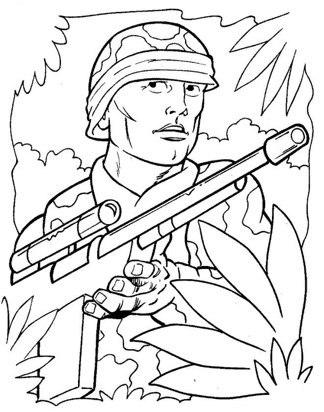 Coloriage et dessins gratuits Soldat de guerre à imprimer