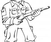 Coloriage et dessins gratuit Soldat en bataille à imprimer