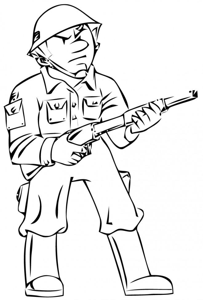 Coloriage et dessins gratuits Soldat en bataille à imprimer