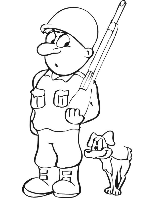 Coloriage et dessins gratuits Soldat et chien rigolo à imprimer
