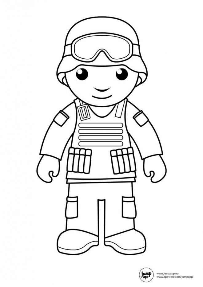 Coloriage et dessins gratuits Soldat garçon à imprimer