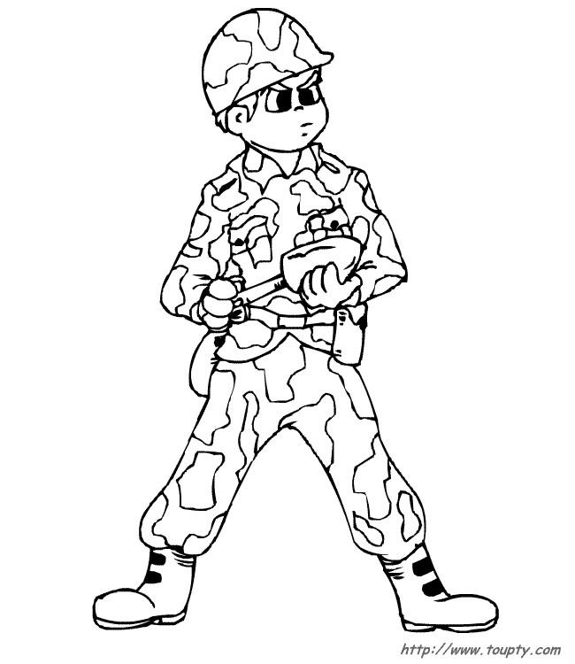 Coloriage et dessins gratuits Soldat guerre à imprimer