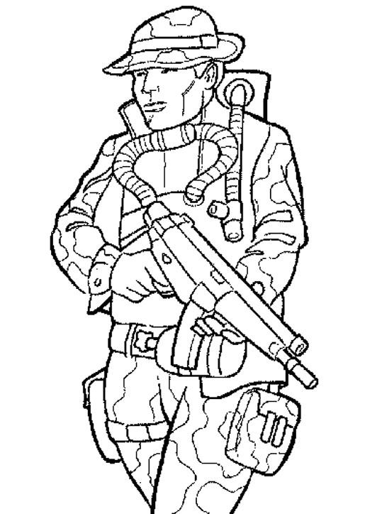 Coloriage et dessins gratuits Soldat militaire à imprimer