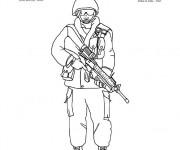 Coloriage et dessins gratuit soldat militaire Canadien à imprimer