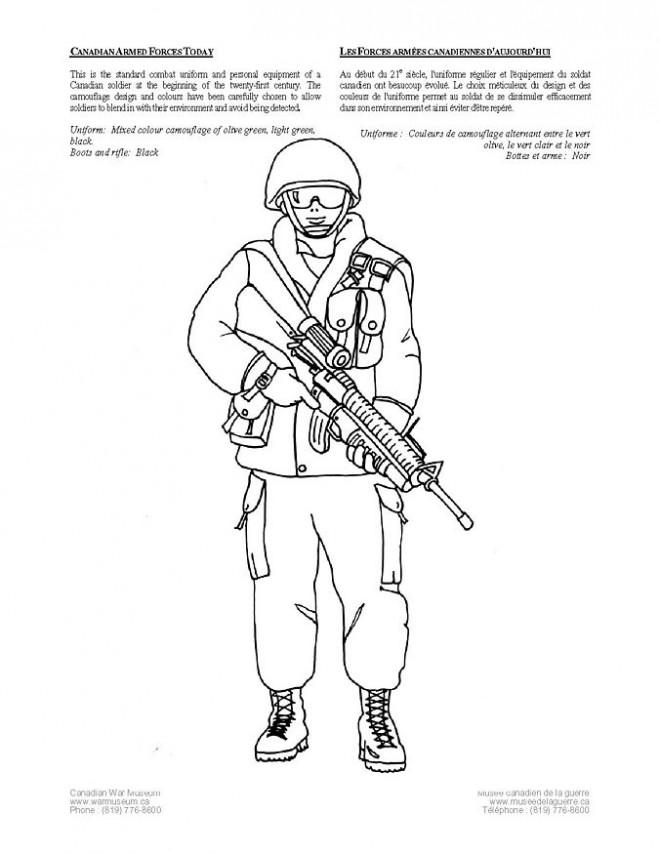 Coloriage et dessins gratuits soldat militaire Canadien à imprimer