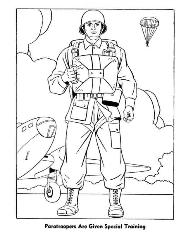 Coloriage soldat parachutiste couleur dessin gratuit - Dessin parachutiste ...
