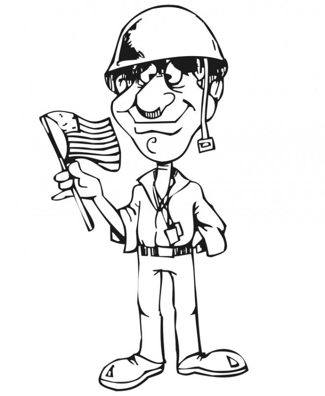 Coloriage et dessins gratuits Soldat porte le drapeau américain à imprimer