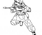 Coloriage et dessins gratuit Soldat porte son arme à imprimer
