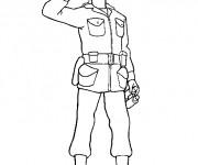 Coloriage et dessins gratuit Soldat saluant à imprimer
