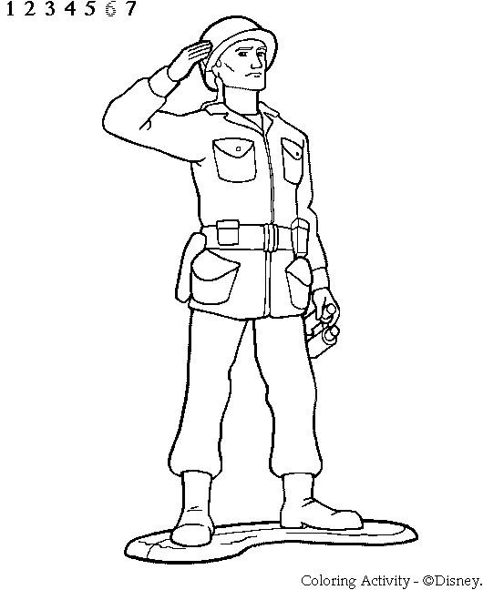 Coloriage et dessins gratuits Soldat saluant à imprimer
