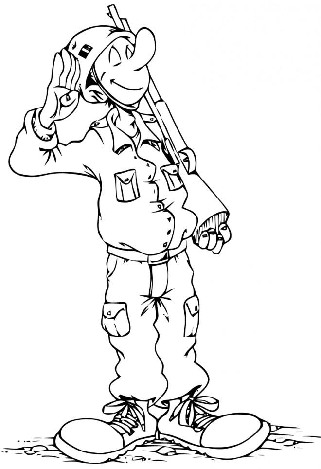 Coloriage et dessins gratuits Soldat tout en souriant à imprimer