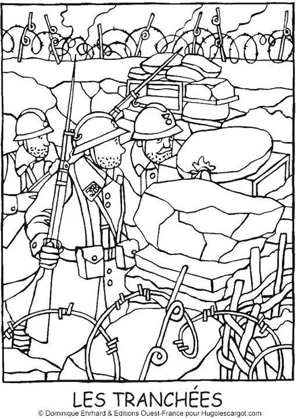 Coloriage et dessins gratuits Soldats dans les tranchées à imprimer