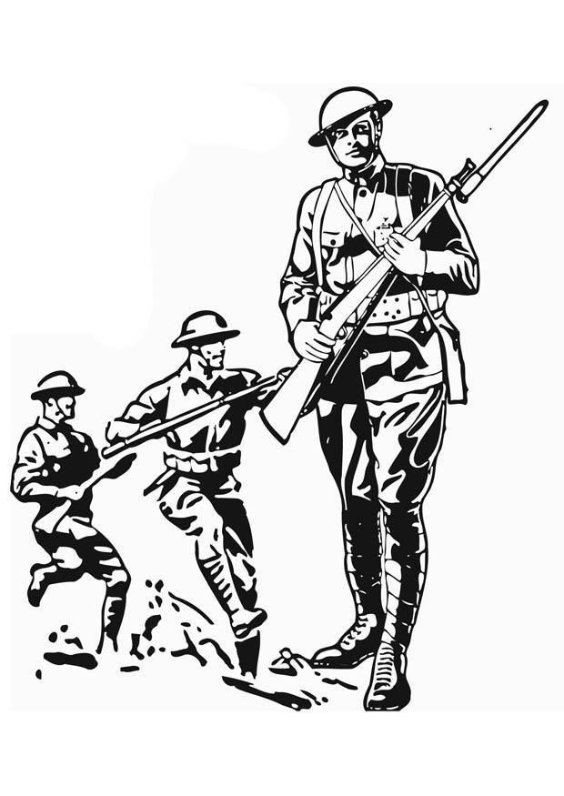 Coloriage et dessins gratuits Soldats en action à imprimer