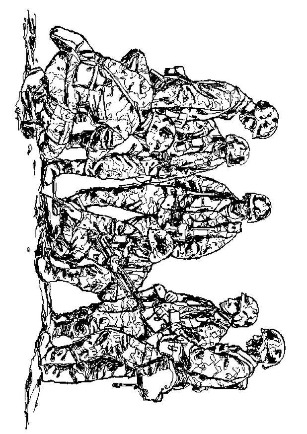 Coloriage et dessins gratuits Soldats en guerre à imprimer