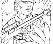 Coloriage et dessins gratuit Soldats seconde guerre mondiale à imprimer
