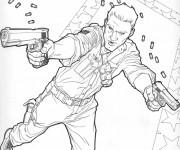 Coloriage et dessins gratuit Un combattant armé dessin animé à imprimer