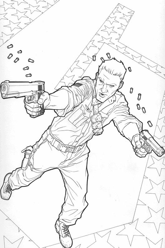 Coloriage et dessins gratuits Un combattant armé dessin animé à imprimer