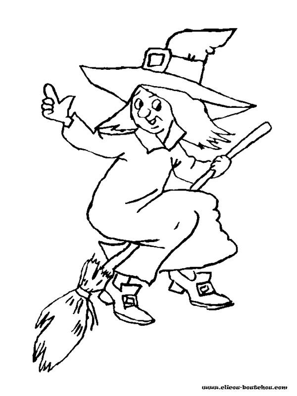 Coloriage et dessins gratuits Balai de sorcière en ligne à imprimer