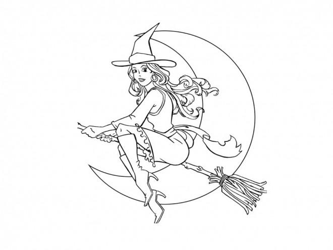 Coloriage et dessins gratuits Belle sorcière à imprimer