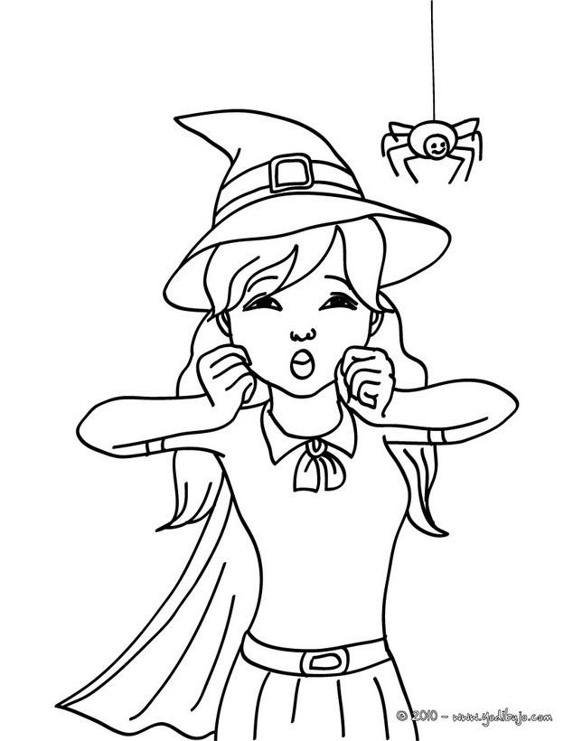 Coloriage belle sorci re dessin pour enfant - Le jeux de la sorciere qui fait peur ...