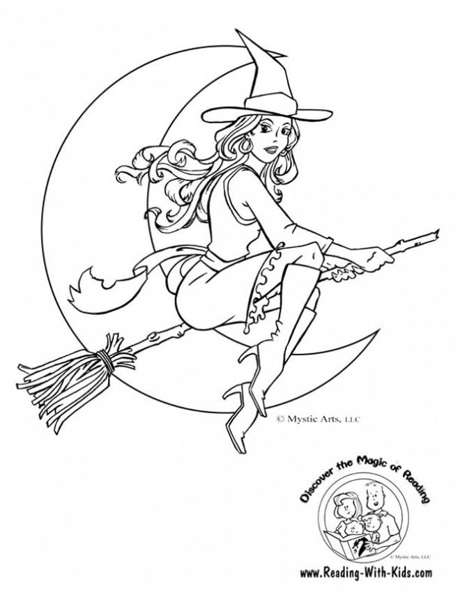 Coloriage et dessins gratuits Belle sorcière en volant à imprimer