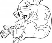 Coloriage Chat Sorcière de Halloween