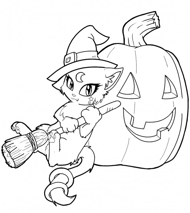 Coloriage et dessins gratuits Chat Sorcière de Halloween à imprimer
